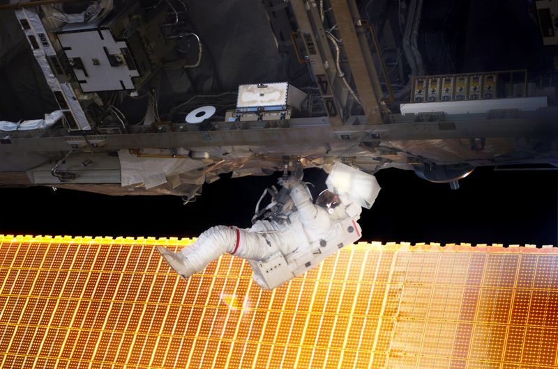 Soichi Noguchi during the first EVA. Image credit Wikipedia