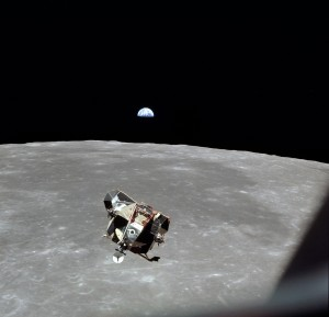 "The Lunar Module ""Eagle,"" as seen from Apollo 11's Columbia."