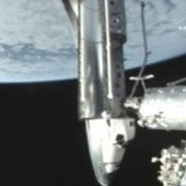 Discovery docked with the International Space Station. Image credit European Space Agency