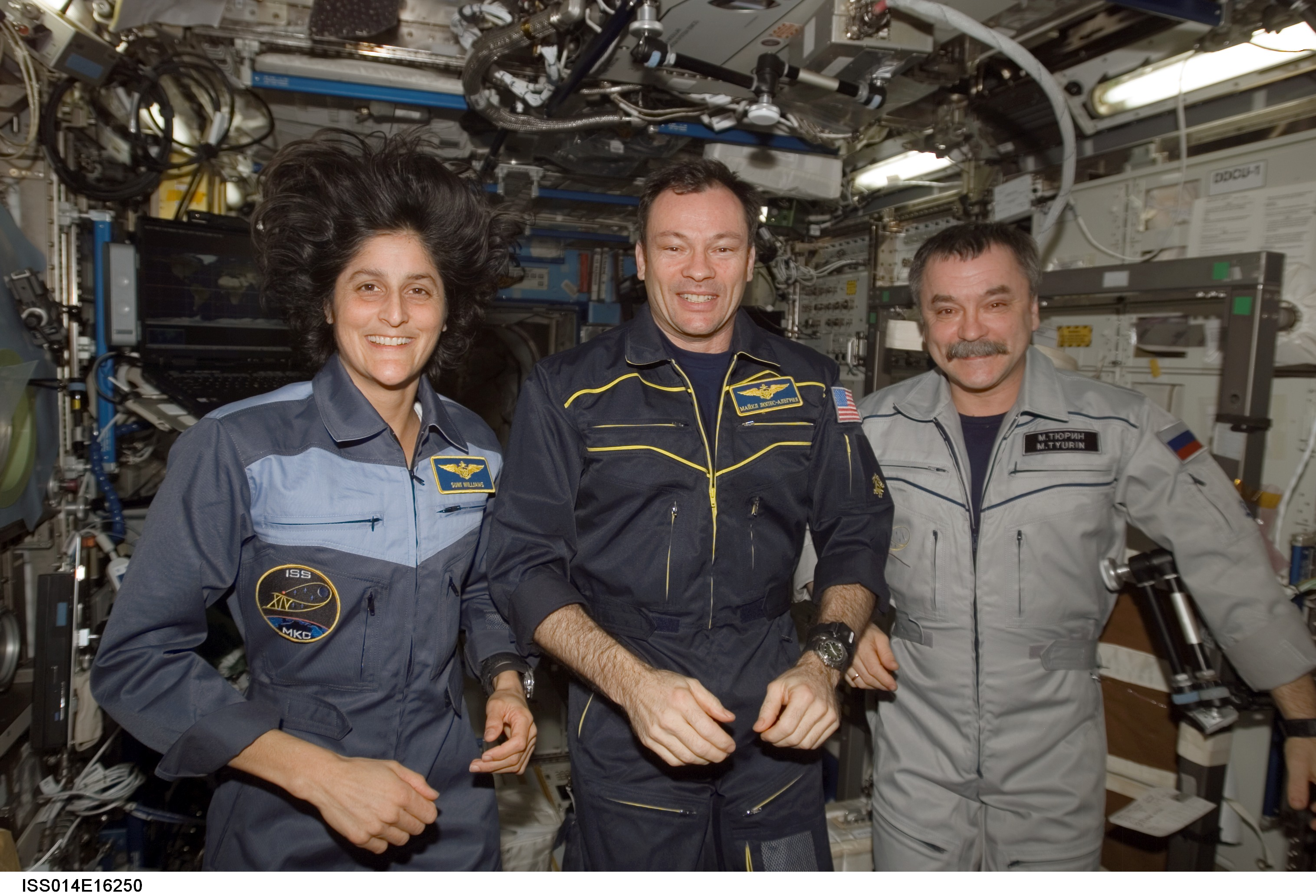 Sunita Williams, Michael Lopez-Alegria and Mikhail Tyurin. Image credit NASA