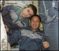 The crew of Expedition 7 poses for a picture. Image credit NASA