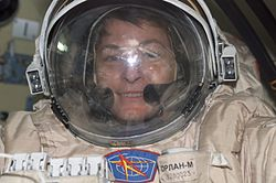 Peggy Whitson in an Orlan EVA suit. Image credit Wikipedia