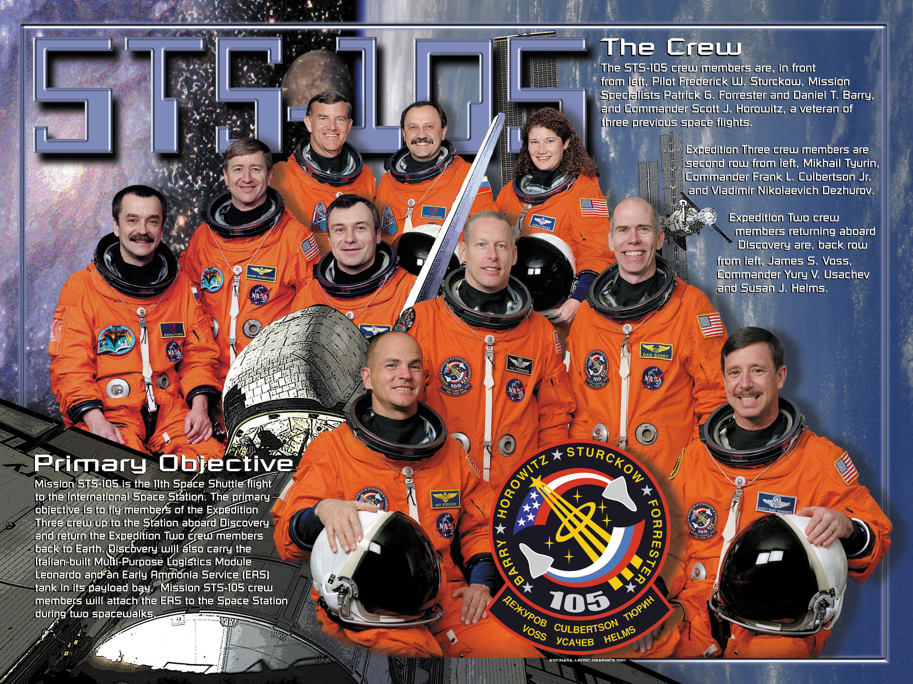 The STS-105 Crew Poster.