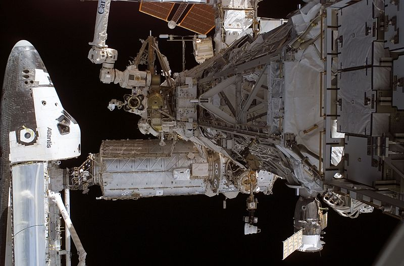 Atlantis is docked to the International Space Station. Image credit Online-Utility