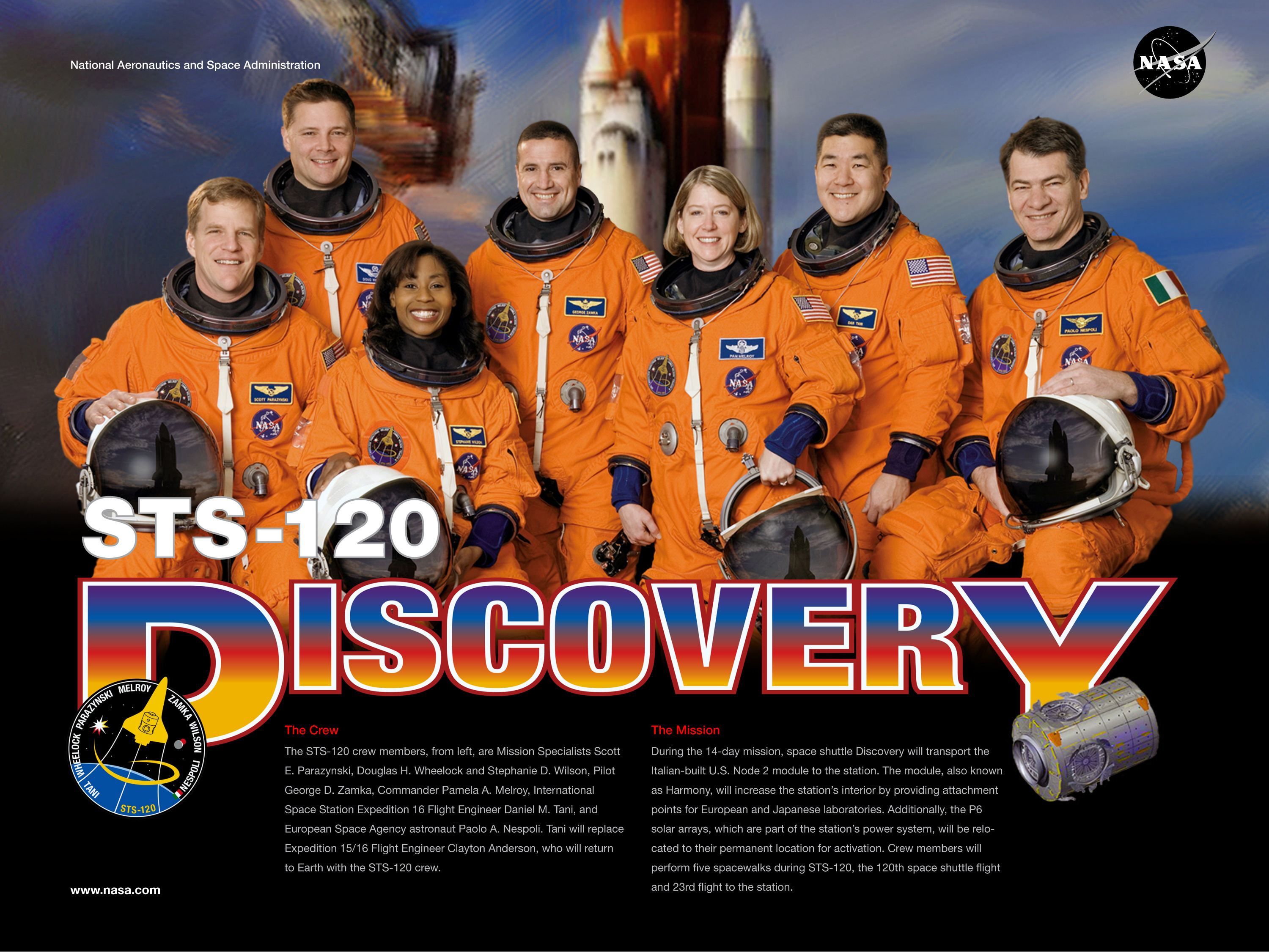 The STS-120 Crew. Image credit NASA
