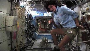 Sunita Williams on ISS bicycle