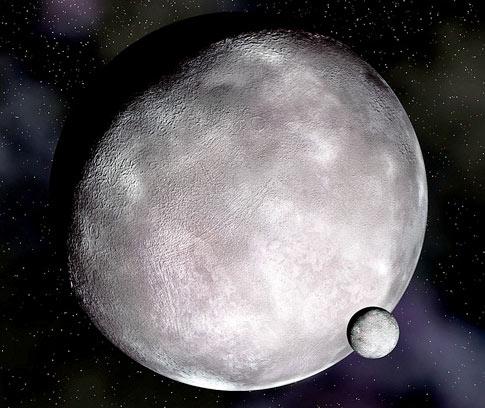 Eris with its moon Dysmonia. Image credit ZME