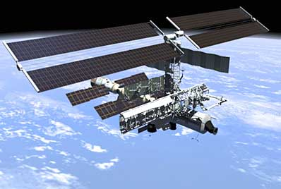 A view of the International Space Station with the S1 Truss.