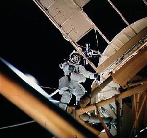 Owen Garriott during the EVA. Image credit Astronautix