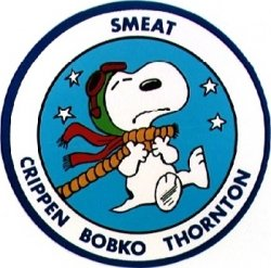 "SMEAT Patch image from NASA.gov and drawn by ""Peanuts"" creator Charles Schulz."