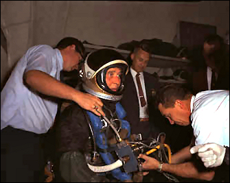 Wernher Von Braun prepares for work in a water tank used for astronaut training. Image credit Apollo Project
