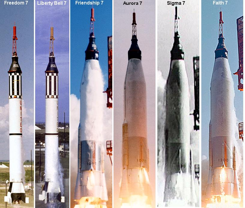 A comparison of the rockets used to launch the six manned Mercury missions. Image credit Amy Shira Teitel