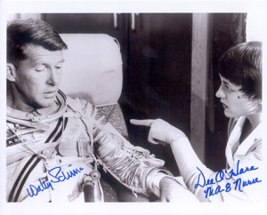 Dee O'hara has a discussion with Wally Schirra. Image credit Farthest Reaches