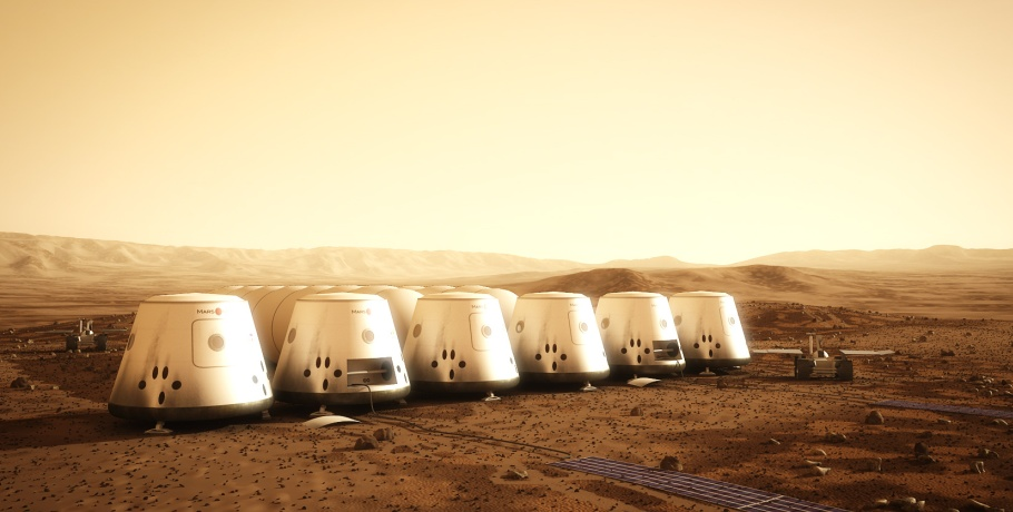 A visualization of the Mars One colony. Image credit Mars One