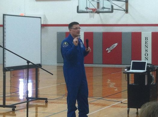Doug Wheelock gives a speech at Roanoke-Benson Middle School. Picture taken by Pam Hummel.