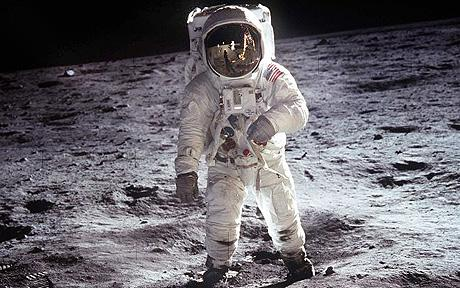 Buzz Aldrin in his EVA suit on the Moon