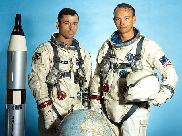 Michael Collins and John Young in their Gemini 10 suits