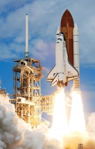 Discovery launches for the STS-120 mission. Ethics was probably the last thing on the crew's minds. Image credit Wikipedia