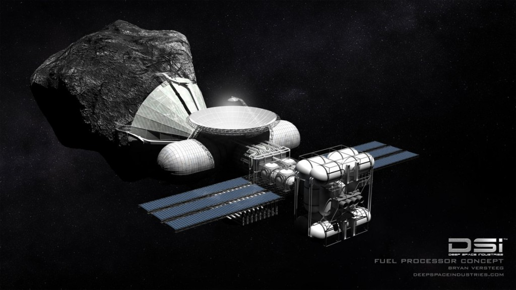 "Concept art for what a ""space mining"" rig could look like. Image credit Deep Space Industries"