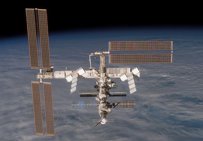 The International Space Station is photographed by the departing Discovery. Image credit Wikimedia