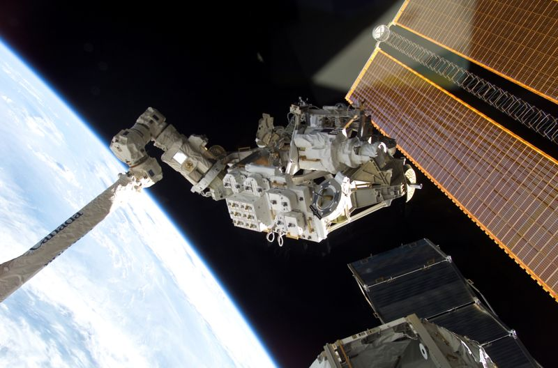 Components for the Mobile Remote Servicer Base System (MBS) are installed during an EVA. Image credit Wikimedia