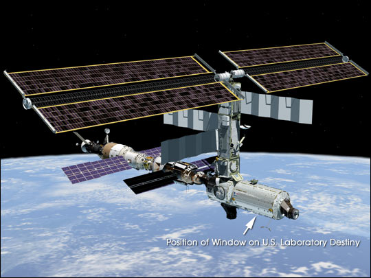 The International Space Station with Destiny installed. Image credit NASA