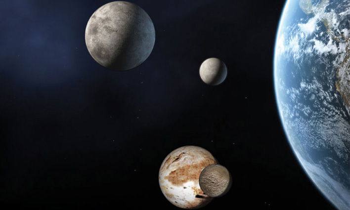 A comparison of the dwarf planets with Earth. Image credit NASA