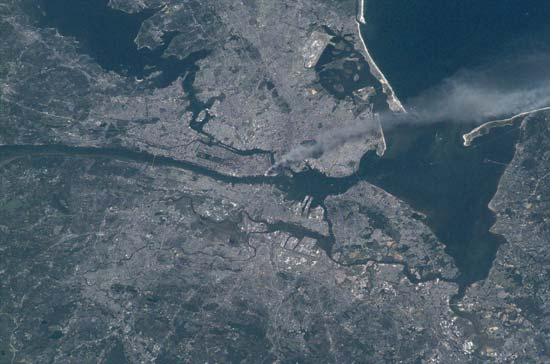 The smoke from the 9/11 attacks, as captured by Expedition 3. Image credit Encyclopedia Brittanica