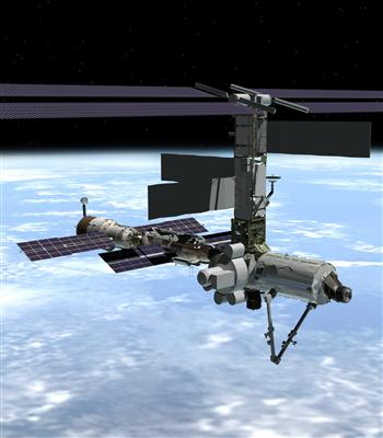 An artist's concept of the International Space Station with Quest. Image credit Canadian Space Agency