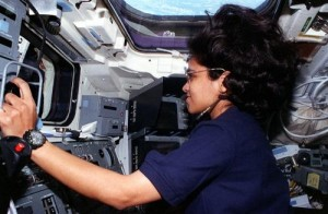 Kalpana Chawla at the RMS controls