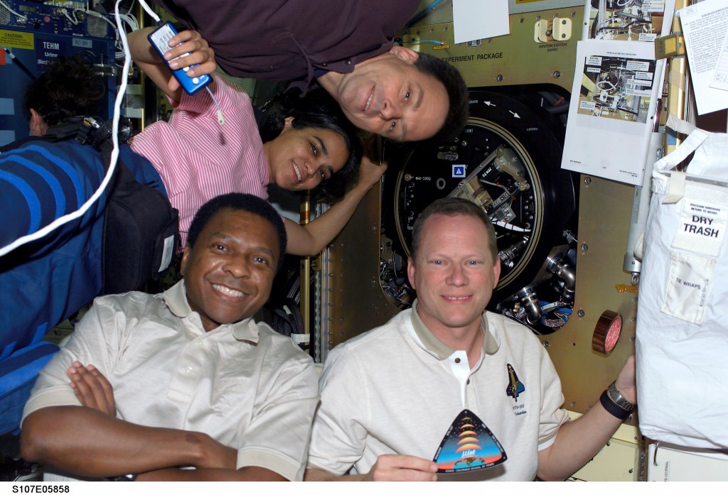 Kalpana Chawla poses with fellow crew members Ilan Ramon, Michael Anderson and David Brown. Image credit Redorbit
