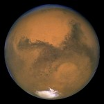 Mars, as seen through the Hubble Space Telescope.