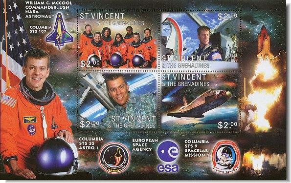 William McCool is features on a set of stamps honoring the STS-107 crew.