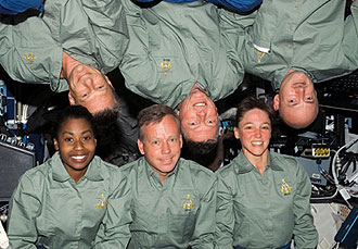 The STS-121 crew in the Destiny module. Image credit NASA