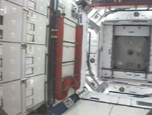The Harmony module lacks the new car smell but looks brand new. Image credit Spaceflight Now