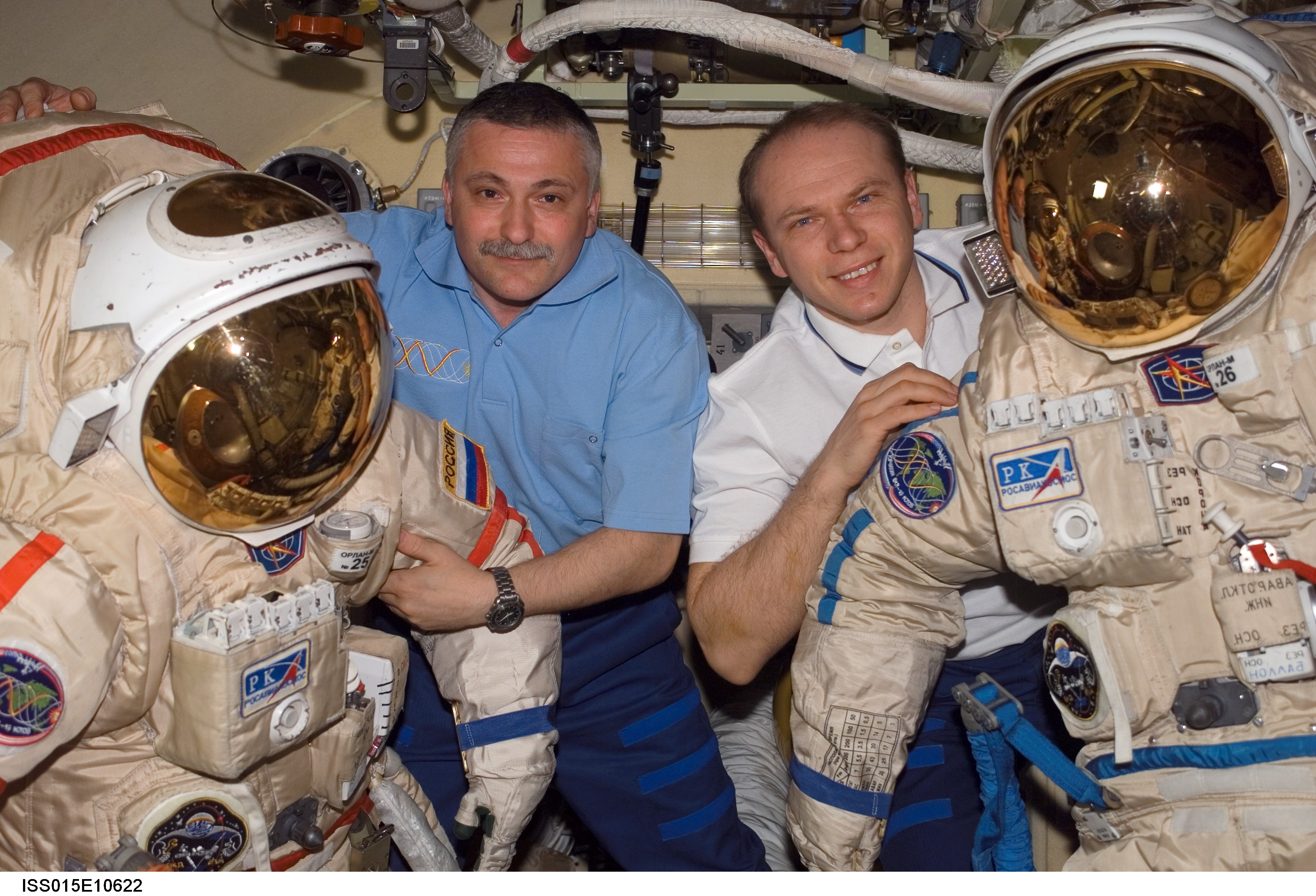 Kotov and Yurchikhin pose with their EVA suits. Image credit Collect Space