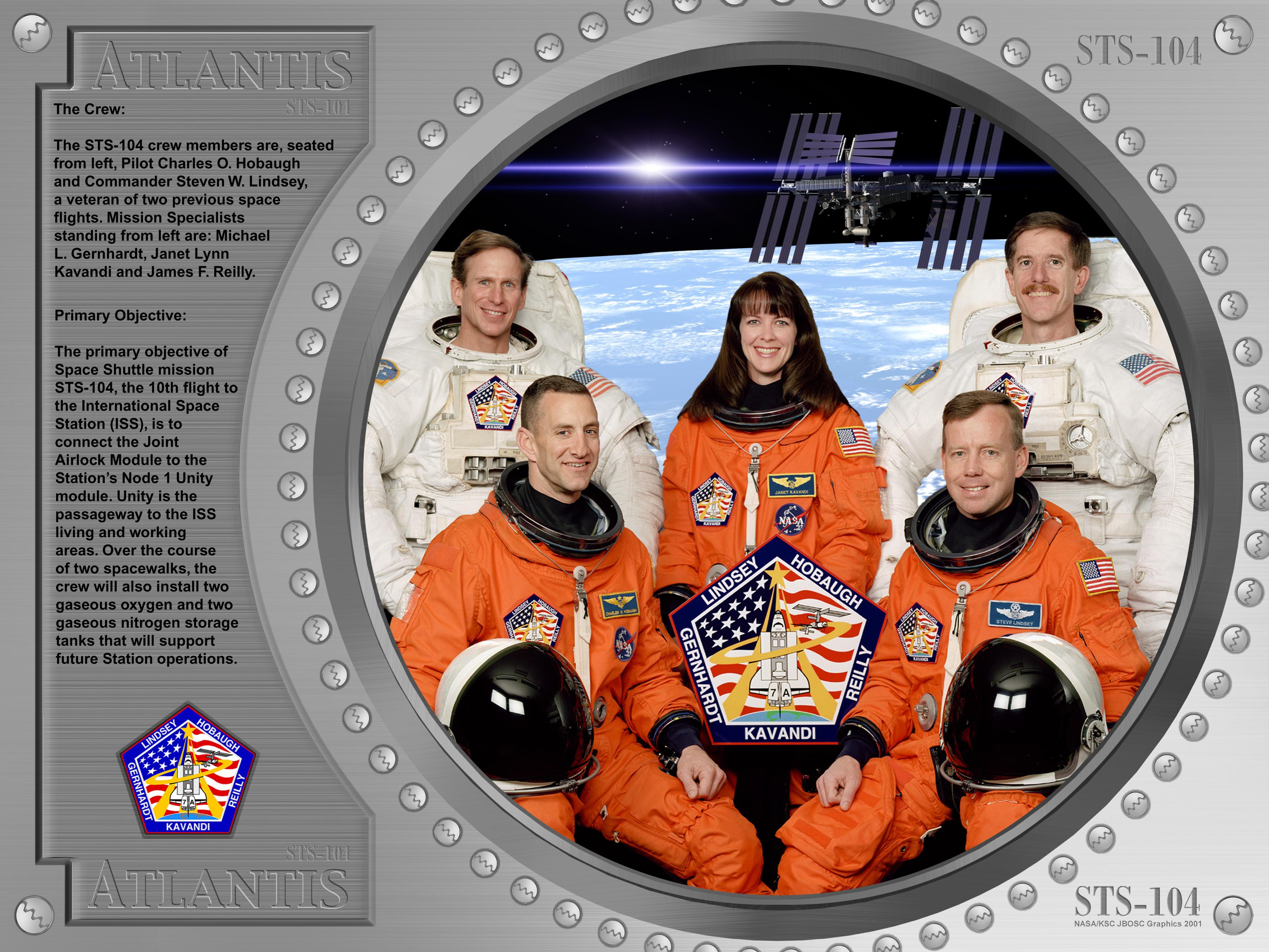 STS-104 crew poster. Image credit NASA