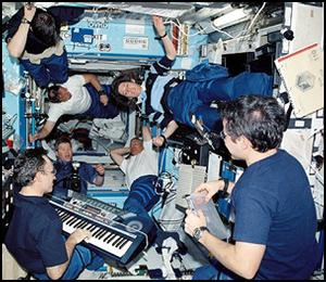 The astronauts find time for a little relaxation while on the space station. Image credit NASA