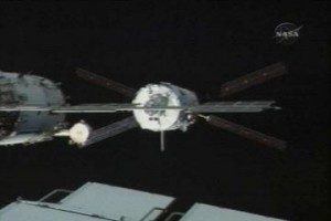 """The ATV """"Jules Verne"""" docks with the International Space Station. Image credit ESA"""