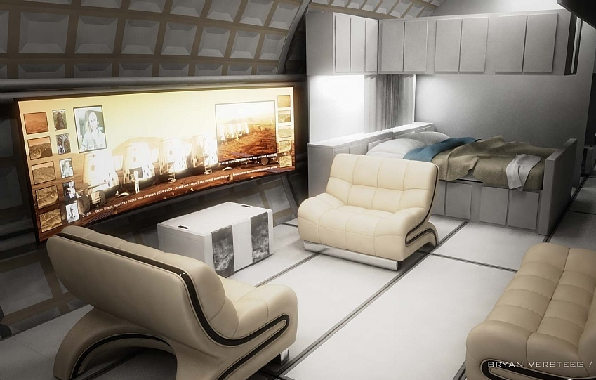 An artist's rendition of a Mars One Habitat Interior. Image credit SpaceHabs