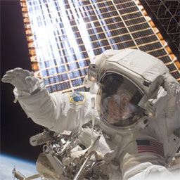 Peggy Whitson during the first Stage EVA
