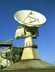 A radar dish used by the remote tracking stations.