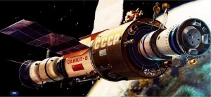 An artist's rendition of Salyut. Image credit SpaceFacts.de
