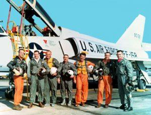 The Mercury Astronauts. From left: Scott Carpenter, Gordon Cooper, John Glenn, Gus Grissom, Wally Schirra, Alan Shepard and Deke Slayton. Image credit NASA