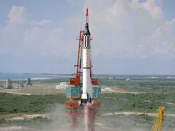 The Redstone rocket used to launch Alan Shepard's Freedom 7. Image credit NASA