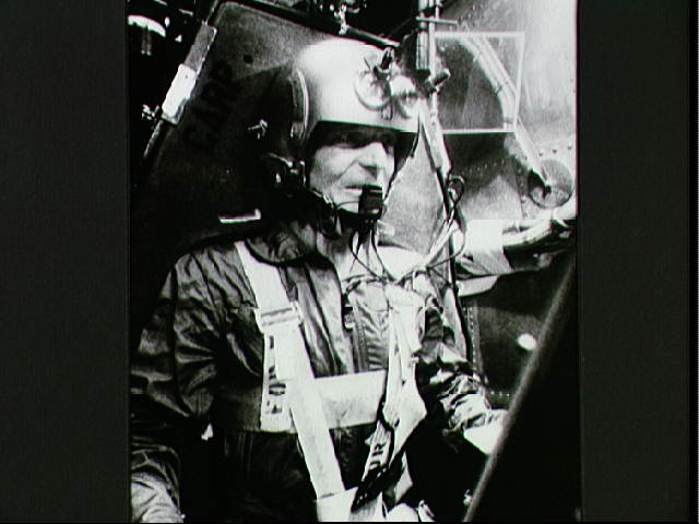 Scott Carpenter trains in the centrifuge. Image credit Apollo Explorer