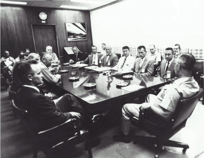The Mercury 7 astronauts visit Redstone.