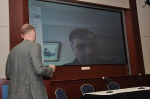 Getting connected with Robert Zubrin on Skype (Bas Lansdorp in the left corner). Image from AMG.