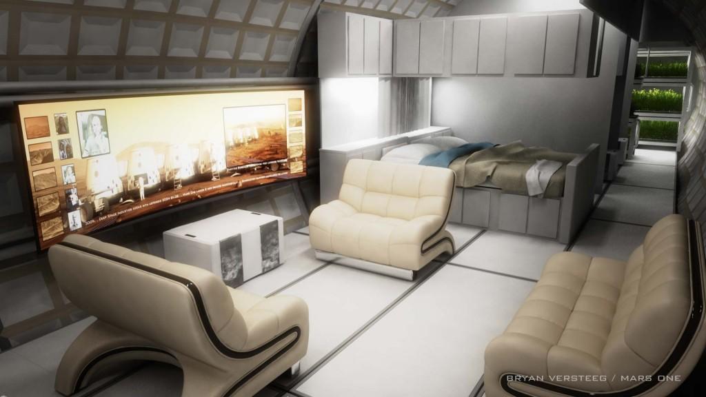 A proposed interior design for the Mars One habitat. Image credit Bryan Versteeg