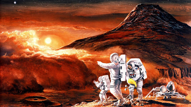 A few Martian colonists. One wonders if they are describing what sunrise would have looked like on Earth. Image credit: Gizmodo